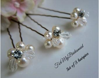 Weddings, Hair Accessory, Ivory bridal hair accessories Swarovski pearls crystals Fall Wedding hair Fascinator Set of 3 pins, Angel hair pin
