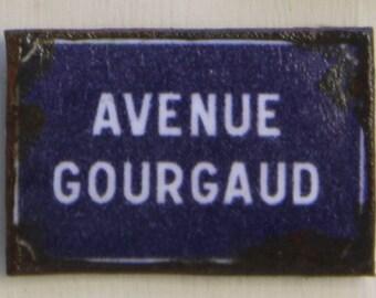 Miniature Dollhouse Tin Paris Street Sign - Avenue Gourgaud