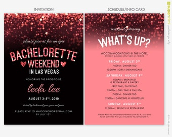 Sparkly Pink Black Vegas Bachelorette Invitation and Schedule Info Card / Customized DIY Printable