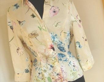 90s Vintage Romantic silk floral blouse