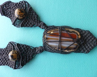 Hippie Macrame Necklace Artisan Choker Style Pendant With Agate Stone and Seeds 1980s