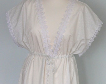 Night Dress Nightgown Vintage Inspired White Cotton with Lace Trim Beautiful 1970s Shape Elegant Natural Comfortable Lovely Gift