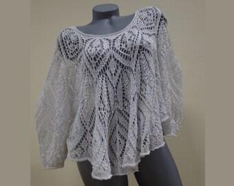 Loose crochet sweater - White sweater - Long sleeve sweater - White crochet blouse