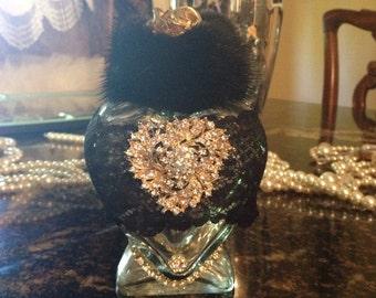 Mink and rhinestone Embellished perfume bottle