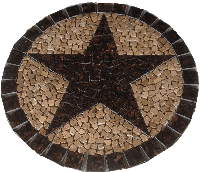Round Tan Brown Granite Texas Star Mosaic Marble By