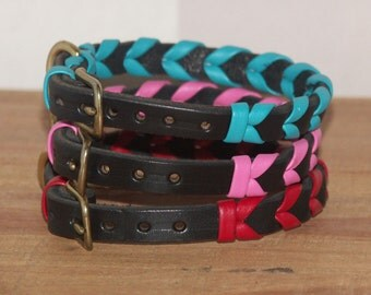 Handmade Leather Dog Collar - Laced - Black with Pink, Red, Turquoise Aqua Lacing - 10, 12 Inch Length - Size Small Braided
