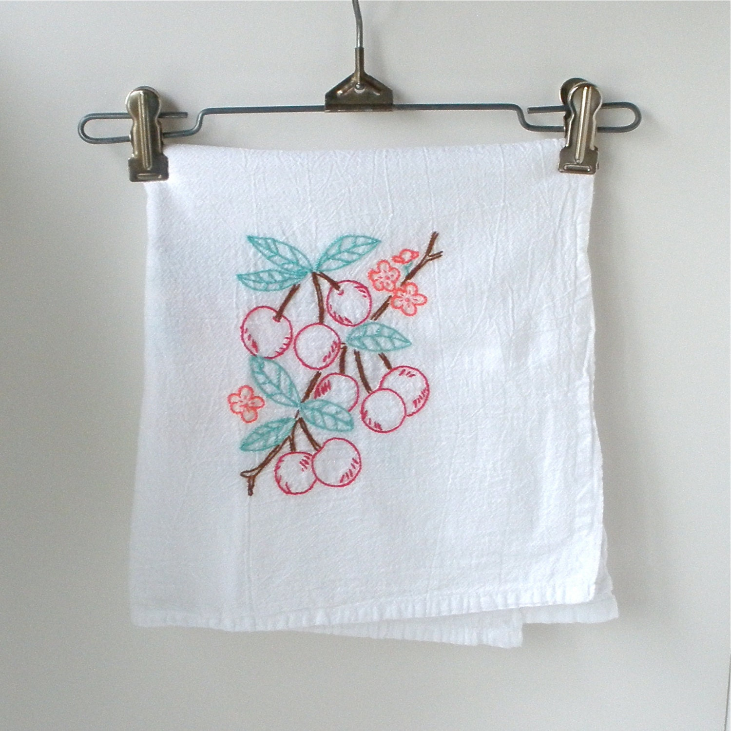Embroidered Flour Sack Dish Towel Cherries Peaches