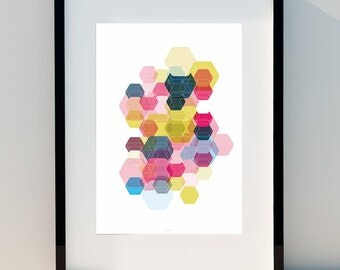 """Geometric poster """"Hexagon & Game Colors I"""" Art for home, Poster, home, wall decor, Print Design, A2, A3 or A4"""