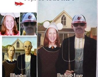 Custom portrait painting,hand painted original realistic oil painting family oil portrait,pet portrait,children portrait etc,Two Person