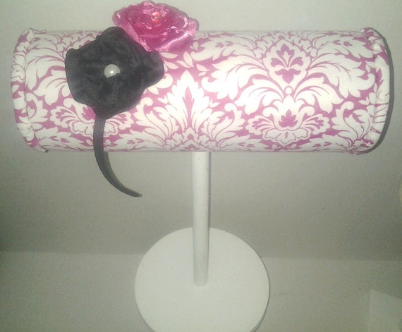 Boutique Headband Display Pink White Damask By