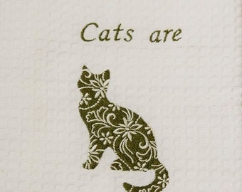 Embroidered Cat Kitchen Towel- Cat's are Purrfect