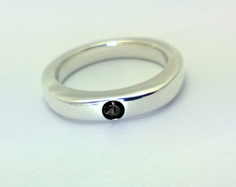 Simple Black Spinel Ring In Sterling Silver - Sterling Silver Ring, Black Stone Ring, Simple Black Ring, Sterling Silver Black Spinel Ring
