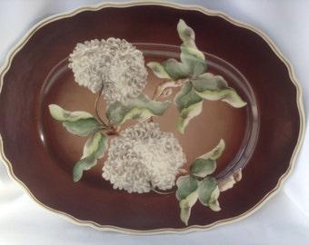 Gorgeous Large Roloff Handpainted in Bavaria Platter, Bavarian Brown Oval Platter