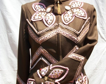 Brown Western Show Jacket with Pink Detail.