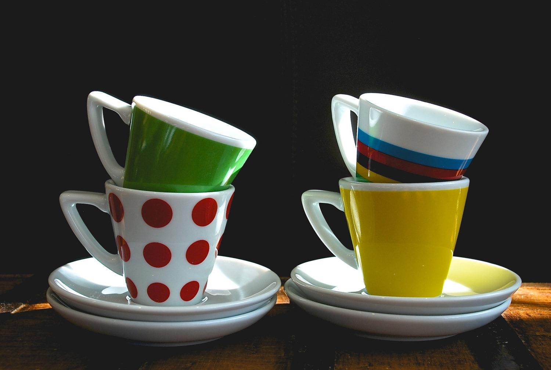 Tour De France Jersey Set Of 4 Espresso Cups And Saucers