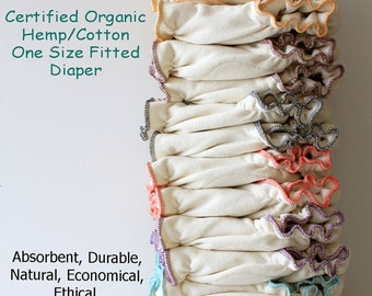 6 PACK Certified Organic Hemp/Cotton One Size Fitted Cloth Diapers