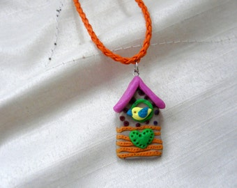 Bird House Necklace, Cuckoo Necklace, Birdhouse Polymer Pendant, Bird House Jewelry, Polymer Clay Bird House