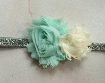 Mint Flower headband, silver headband, Aqua flower headband, ivory, double flower headband, glitter