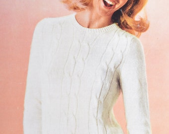 Womens cable sweater PDF vintage knitting pattern jumper pdf INSTANT download pattern only