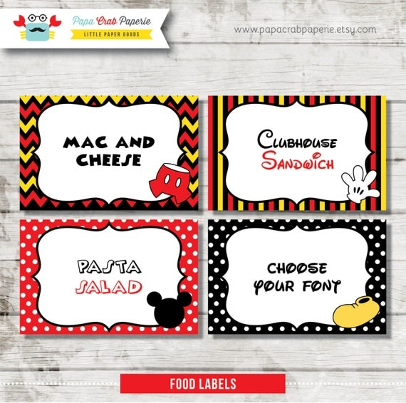 Download / Editable Mickey Mouse Inspired Food Labels / Food Tags ...