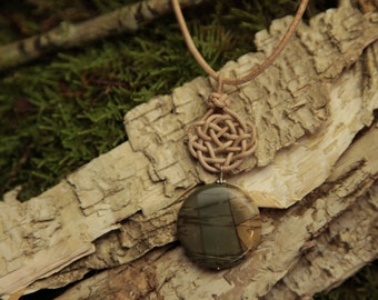 Leather node no. 6 in nature with Jasper gemstone pendant