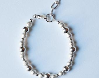 Smooth & Shimmer Silver Bracelet