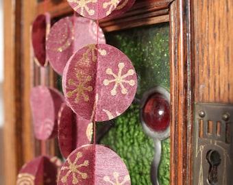 Garland, Tissue Garlands, RED SINFONIE , Heart Garland, Birthday Party garland, with wool felt ball, 5 feet (1.5 metres)
