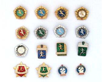 Ready for Labour and Defence of the USSR, GTO, Badge, Sport, Set, Soviet Vintage metal collectible pin, Made in USSR
