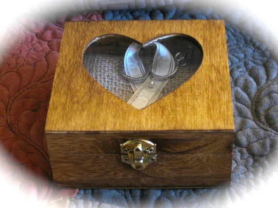 Rustic Wood Ring Bearer Box in Choice of Color, with Burlap Pillow