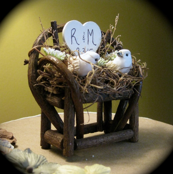 Personalized Rustic Twig & Vine Bench Wedding Cake Topper with Woodland Doves