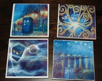 Doctor Who Ceramic Coasters Tardis Geeky Decor