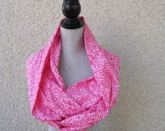 Fabric scarf, Infinity scarf, tube scarf, eternity scarf, loop scarf, long scarf in a pink cotton fabric