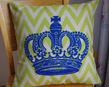 Crown pillow cover,chevron with crown pillow cover
