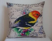 cute Bird pillow cover, Cotton Linen bird pillow cover, cartoon pillow covers