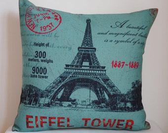 Decorative pillow cover, Vintage Eiffel tower decor pillow ,Eiffel tower pillow cover