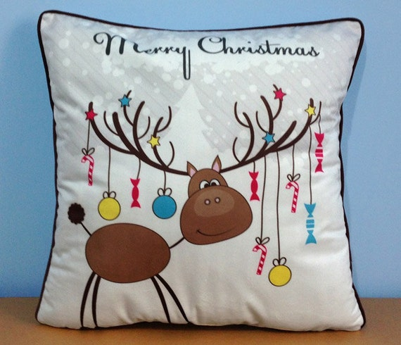 Cute Tumblr Pillows Etsy : Items similar to Cute Reindeer pillow, cute baby deer decor pillow cover, animal pillow for ...