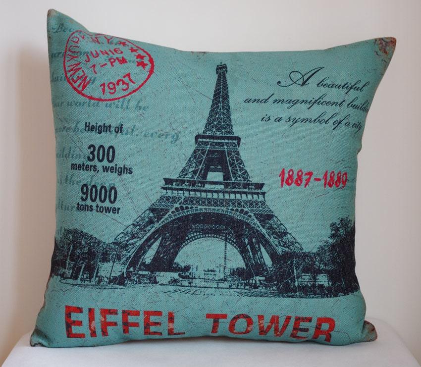 Decorative Pillows Eiffel Tower : Decorative pillow cover Vintage Eiffel tower decor pillow