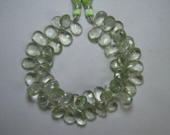 Pear Green Amethyst Briolette Beads