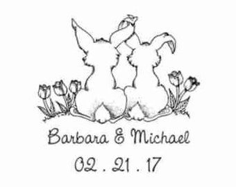 Love Bunnies Custom Wedding Stamp - C642