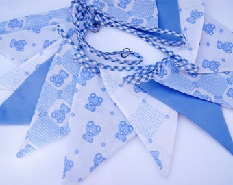 Baby Boy's Bunting Childrens Bunting Blue Bunting Nursery Bunting Kids/play/bedroom Bunting Teddy bear bunting Doublesided 2m