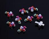 DIY Nail Art 3D Nail Art Colorful Pearls Alloy Cross Reusable Alloy Nail Decorations Gadgets Nail Pearl Nail Supply Case Decoration