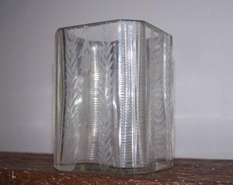 vintage Etched Ribbed Glass Vase