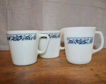 Set of 2 MUGS and a CREAMER. PYREX Pattern Old Town Blue.  A Classic Pattern. Lot of Three.