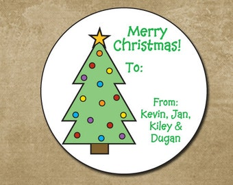 Personalized Christmas Tree Stickers, Christmas Tree Gift Labels, Holiday Gift Tags, Holiday Favor Tags, Christmas Present Labels