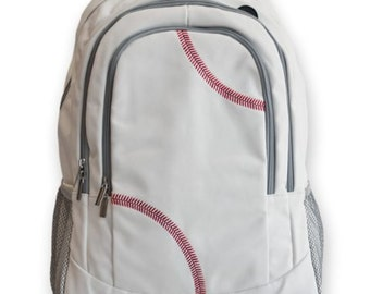 Baseball Backpack - real baseball leather with real red stitching