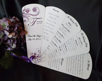wedding program fans petal fan programs etsy 12386
