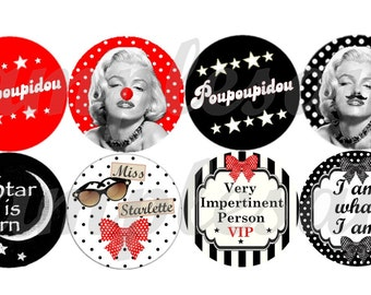 Digital collage sheet, digital bottle cap Marylin Monroe, digital images, digital circles Marilyn Monroe, one inch circle, instant download