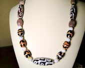 DZI  Tibetan Agate Necklace in Sterling Silver and Earrings* Set