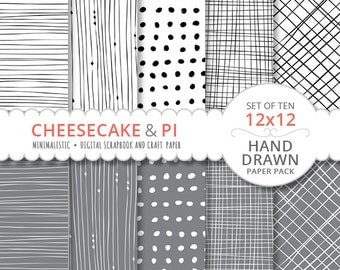 "DIGITAL PAPER: Minimalist black, white and gray elegant design / hand drawn / 10 paper pack / 12x12"" / 300dpi / minimal 01"