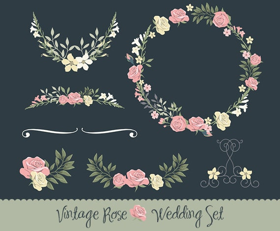 Vintage Wedding Invitation Floral Wreath By Lisaglanzgraphics